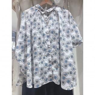 新作♡花柄襟付きシャツ