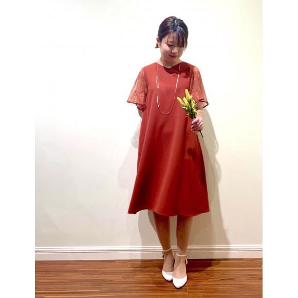 袖付きAラインドレス♡