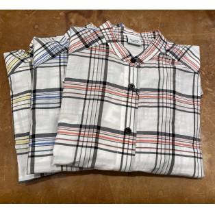 ITAコットンチェックロングシャツ