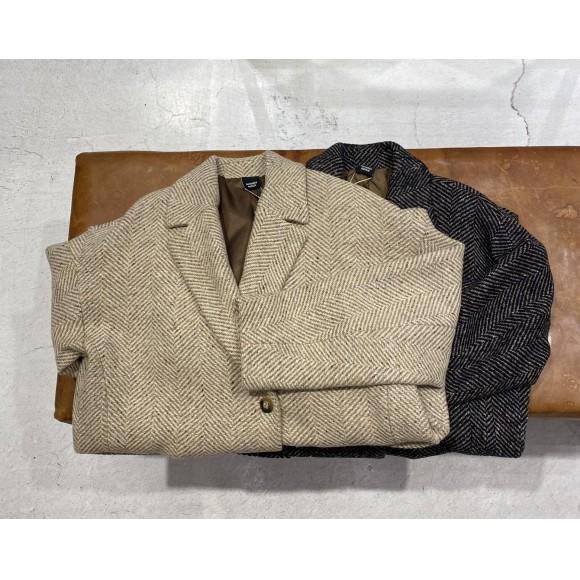 ウールヘリンボーン ダブルミドル丈コート