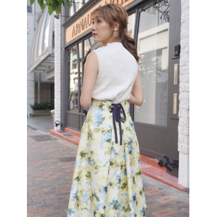 new*水彩フラワーフレアスカート