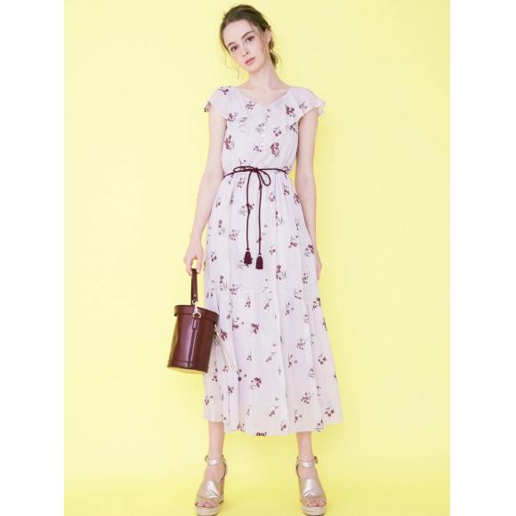 new*楊柳刺繍ロングワンピース