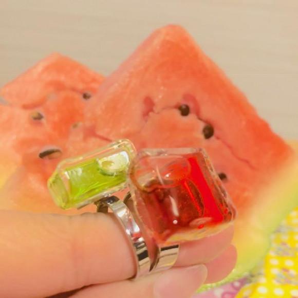スイカの日!夏らしいスイカカラーのリング☆