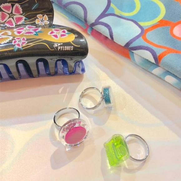 浴衣にもガラスのリング♡