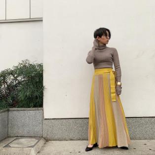 new パネルカラーニットマキシスカート