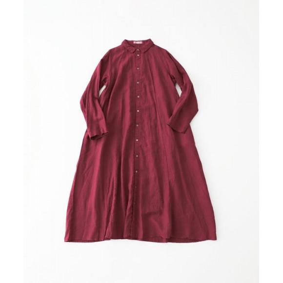 【 nest Robe 】 リネン切替えフレアシャツワンピース 抗菌マスク付き