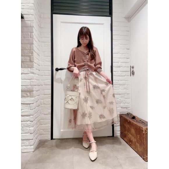 ミモザ刺繍チュールスカート♡