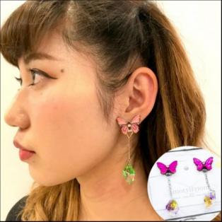 【期間限定販売】motyl 蝶とカラークリスタルが揺れるイヤリング