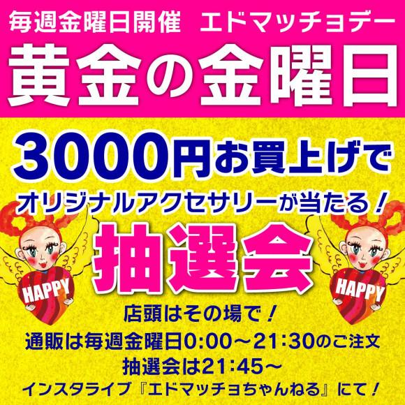 本日開催!お買い物3000円でアクセサリーが当たる抽選会