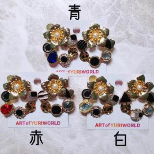 ARTofYURIWORLD  花咲くレトロイヤリング・ピアス(YW12)