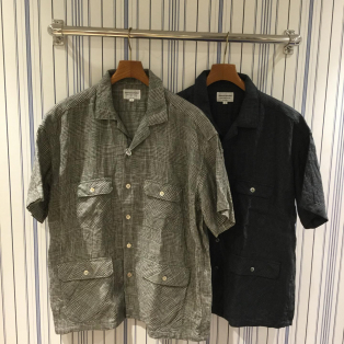 【Men's】Manual Alphabet / グレンチェックオープンカラーシャツ