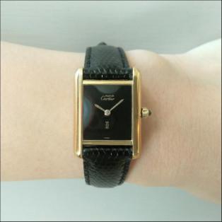 アンティークwatch〈Cartier TANK/BKフェイス〉オリジナルベルト&尾錠付き