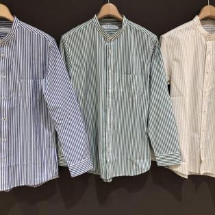 新作!ロンドンストライプのバンドカラーシャツ!