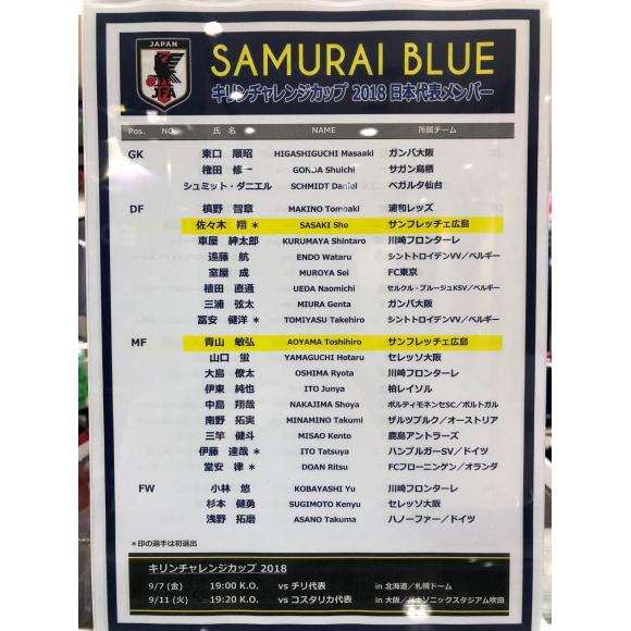 佐々木翔選手、青山敏弘選手が日本代表に選出!