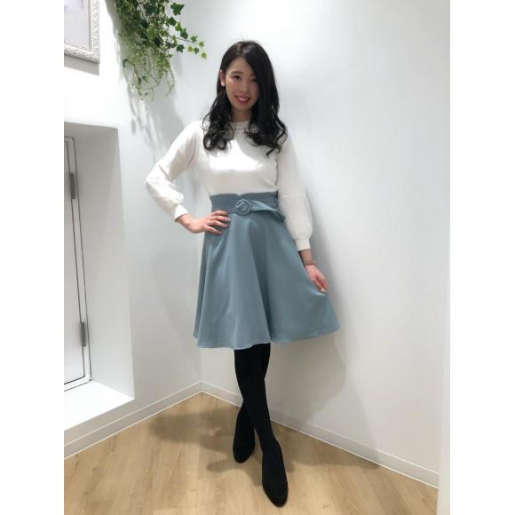 ♡30%OFF バックルベルト付フレアスカート♡