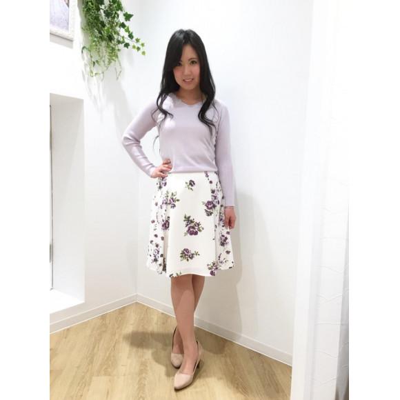 パネル花柄フレアスカート♡