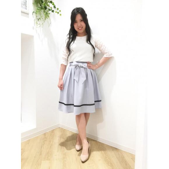 配色レースフレアースカート♡