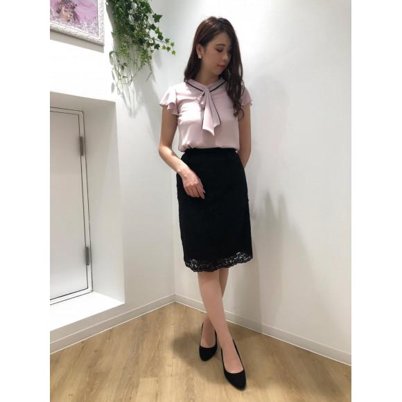 ♡配色パール付きタイブラウス♡