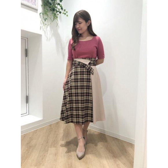♡チェックハイショクフレアスカート♡