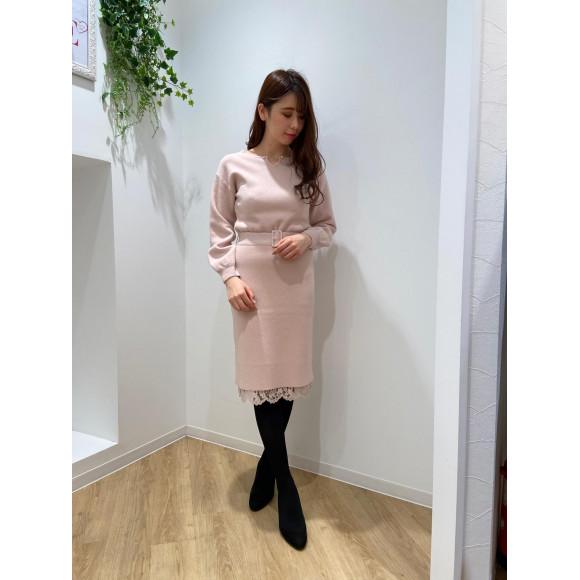 ♡パールチェーンニット+裾レーススカートセット♡