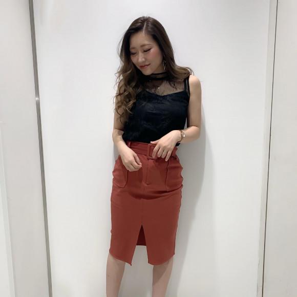 スクエアベルトタイトスカート♡rina