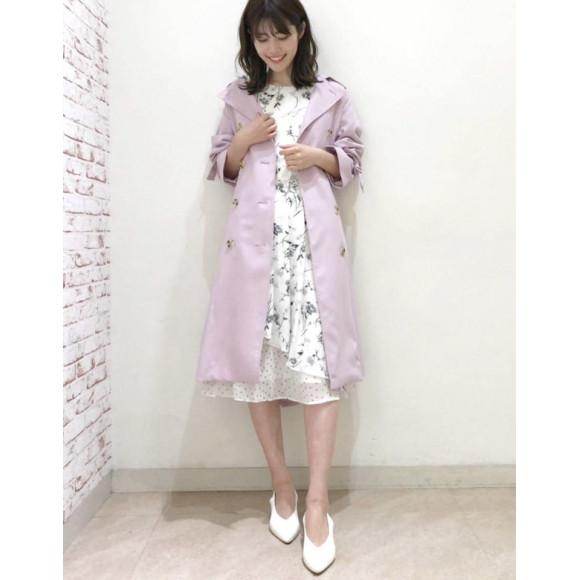 女性らしいさアップ❤︎桜色トレンチコート
