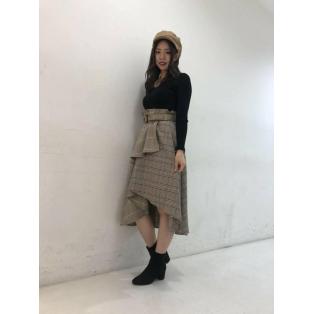 チェックアシメスカート♡