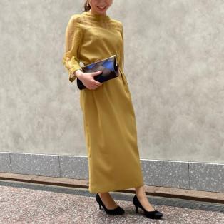 スタンドカラーストライプレースコクーンドレス