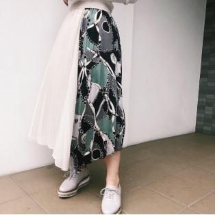 スカート柄プリーツスカート