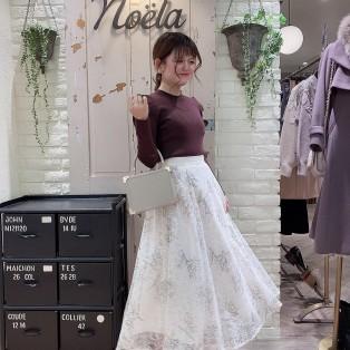 新作!線描き刺繍レーススカート♡