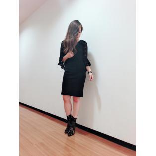 新作♡袖レースタイトリブワンピース