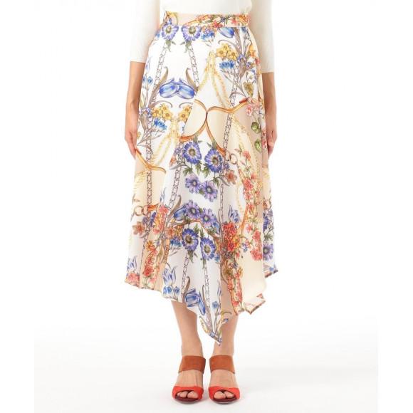 チェーンフラワープリントスカート