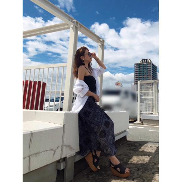 夏らしい透け感♡シフォンスカート