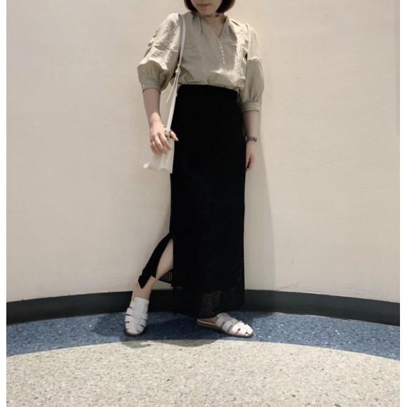 メッシュニットIラインスカート