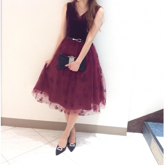 秋冬新作ワインカラーのベルベットドレス