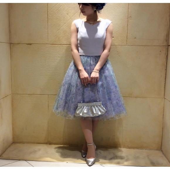 チュール×柄♡ふんわりドレス