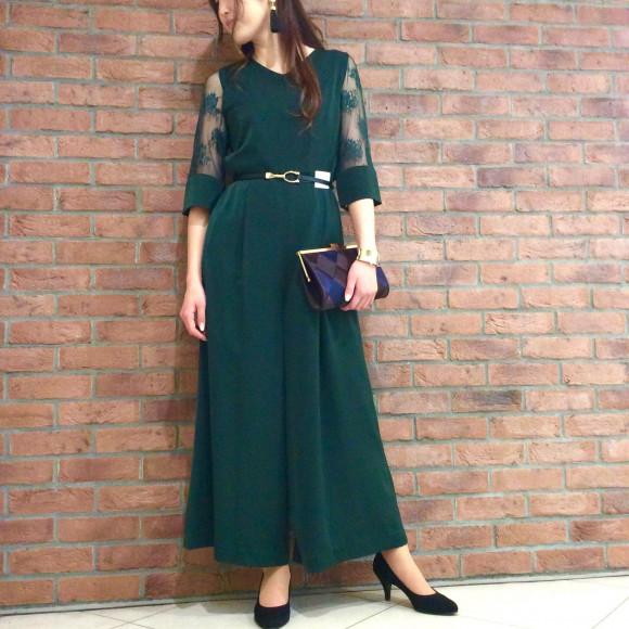 繊細なレースの袖付きパンツドレス☆