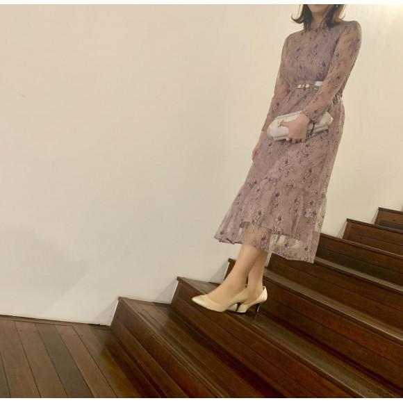 花柄刺繍レースドレス