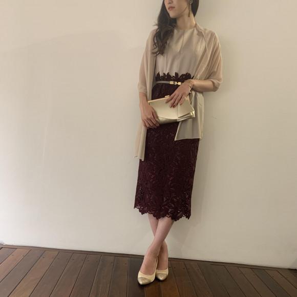 リーフレースタイトドレス