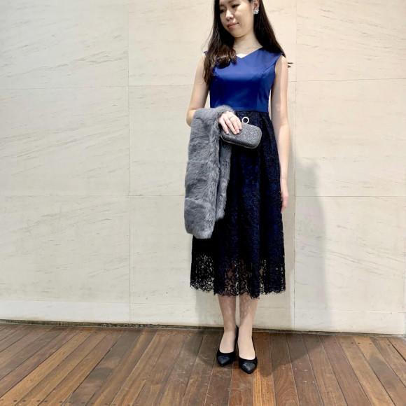 サテンレースクラシカルドレス