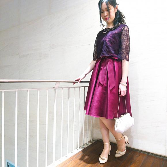 ケープ付ドレス