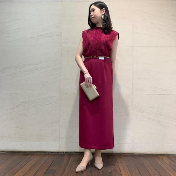 スリットロング丈ドレス