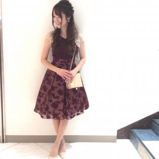 上品♡オパール加工花柄ドレス