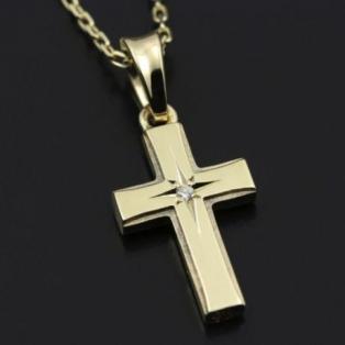 Small Gravity Cross Necklace K10YG w/1Dia