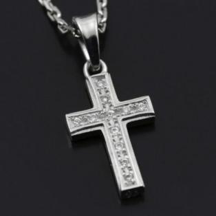 Small Gravity Cross Necklace silver w/cz