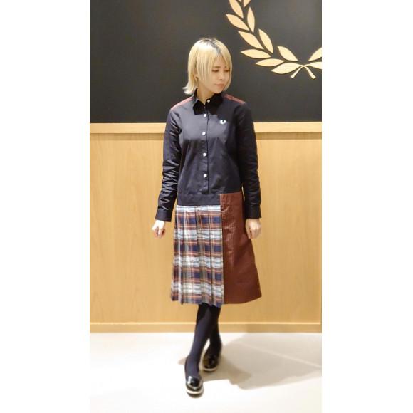 ■MIX PANELLED SHIRT DRESS■