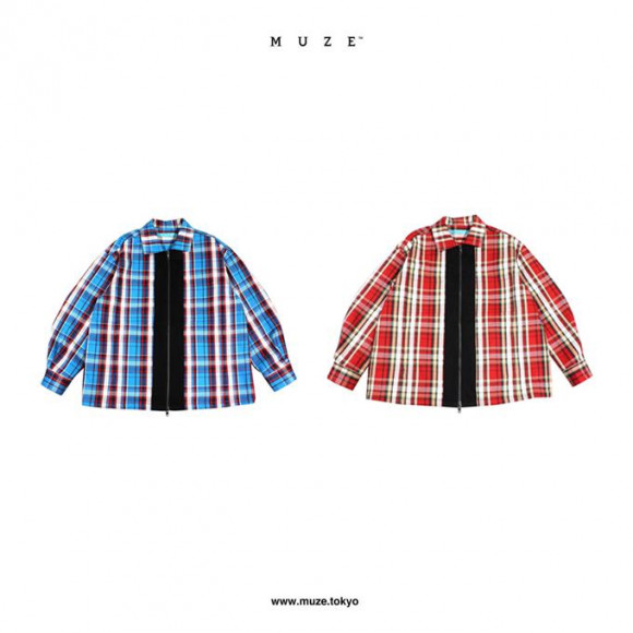 【NEW ARRIVAL】  MUZE 2020 A/W COLLECTION  FLANNEL CHECK ZIP BLOUSON
