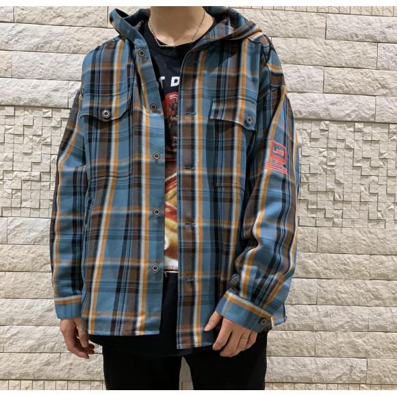 秋らしいチェック柄にルーズなサイズ感のシャツフーディー。【Computer Hoodies】