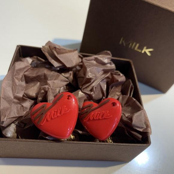 チョコレートをモチーフにしたハート型イヤリング♡【♡チョコイヤリング】