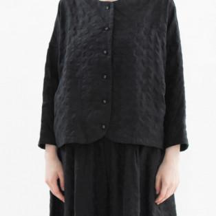 【SALE】リネンPolka刺繍ノーカラー2WAY トップス